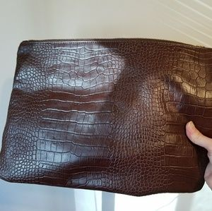 Banana Republic Brown Leather Oversized Clutch NWT